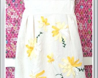 Flower handmade silk ribbon embroidered girl dress