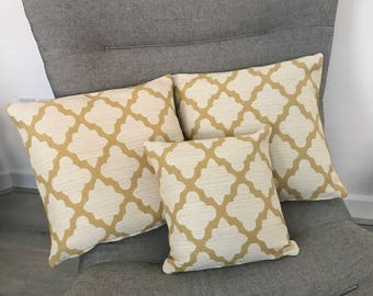 x3 set - 2- 18x18 yellow and cream woven fabric with yellow velvet reverse, 1-  14x14 yellow and cream woven fabric design front and reverse