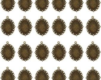 24 PCS Bezel Pendant Trays Oval Cabochon Settings Trays Pendant Blanks, Bronze