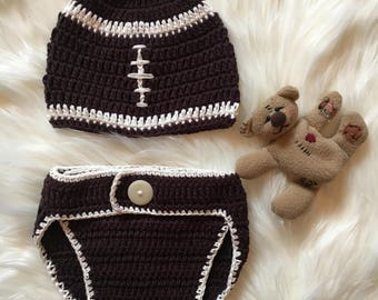 Hand Crochet American Football Baby Beanie and nappy cover/ Crochet Baby Clothes/ Cotton Baby Knitwear/ Kids Winter Clothes/Football