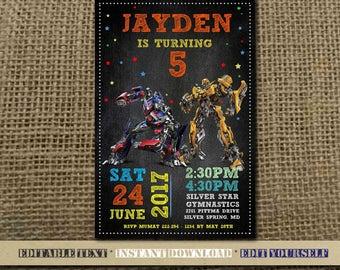 Transformer Invitation,Transformer Birthday,Transformer Birthday Invitation,Transformer Party,Transformer Editable,Transformer-SL27