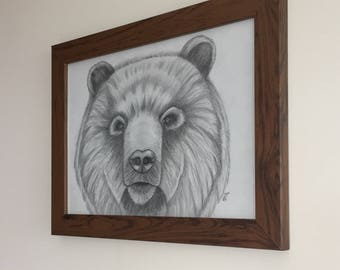 Framed Abstract pencil drawing of a gentle bear, Charity CRUK all proceedings go to cancer research uk