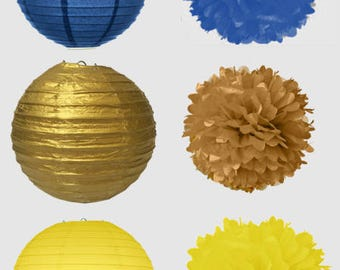 Beauty and the Beast Paper Lanterns Decor  - Blue, Yellow and Gold