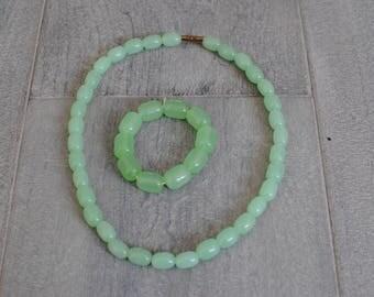 Beaded Necklace, beaded bracelet, beaded jewellery, green jewellery, pastel jewellery, Summer jewellery