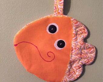 Fish Pot Holder, Hot Pad, Handmade, One of a kind, Great gifts for Showers, Birthdays, , Friendship, Hostess, and House warmings