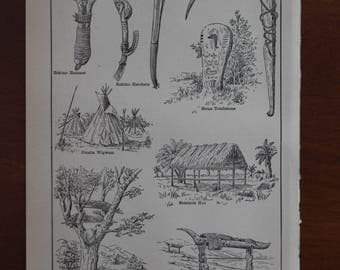 Indian Implements and Buildings - 107-year-old Encyclopedia Illustration