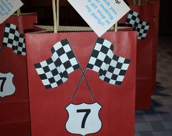 Custom race car theme goodie bags.