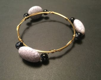 Gold Wire Marble Stone and Beaded Bangle