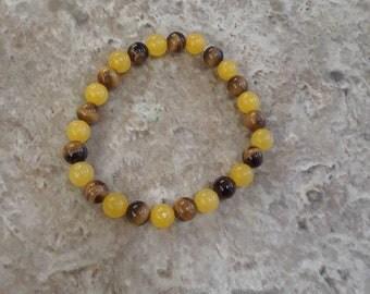 Tiger's Eye & Yellow Jade Gemstone Bracelet
