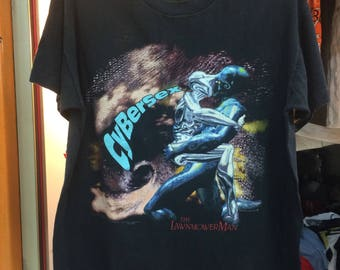 Vintage The Lawnmower Man Movie Shirt/ size L /Free shipping / cyberpunk movie film cult horror scienfiction movie