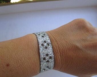 lace bracelet way for girl silver glitter