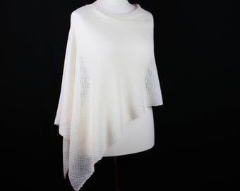 White wool poncho, Merino wool poncho, Knit poncho, Lightweight poncho, Wool knit poncho, Womens knitted poncho
