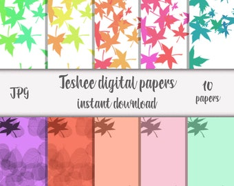 Digital papers, Instant download, Leafs, Autumn papers, Colorful digital papers, Fall digital papers