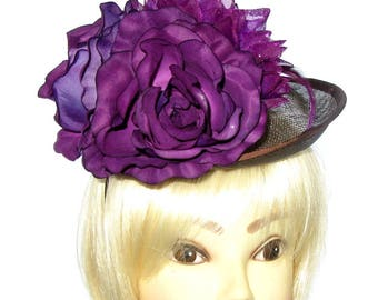 Brown and Deep Purple fascinator hat with headband, Weddings, Races, Ladies Day