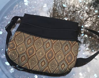 Handmade Wood Knot Tapestry Fabric Hip bag