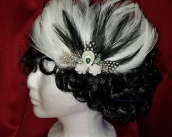 Elegant White Feather Hair Clip