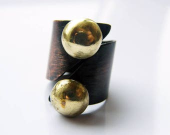 Sun. handmade oxidized copper ring with two large brass balls, open adjustable metal ring, mixed metal ring, statement ring, armor ring