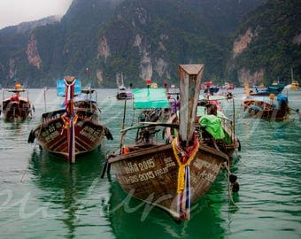 Boat, Digital Photography, fishing boat, Sailboat, Thailand, Photo, print, picture wall art, Photography, instant Download.