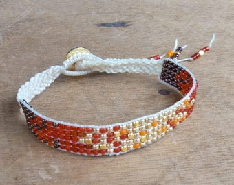 Bracelet - Japanese Miyuki beads woven - boho - hippie - gypsy - gypset - Ibiza - ethnic - Bohemian - gypsy style - warm sand