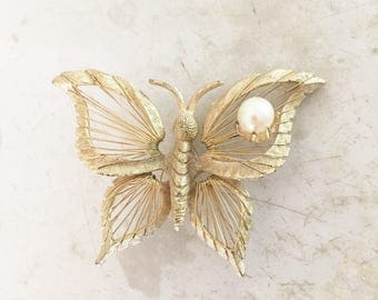 Brooks Wire Worked Metal and Pearl Butterfly Brooch
