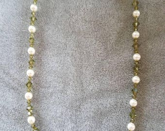 17 inch Swarovski crystal and Swarovski pearl necklace in olive and off white.