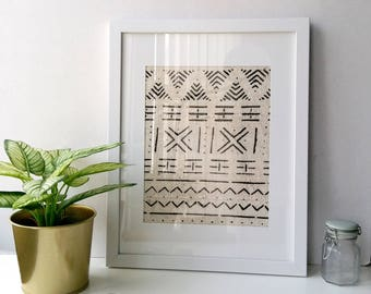 Single Framed African Mudcloth Fabric, Handwoven, Handstamped African fairtrade textile, wall hanging, wall art, bohemian decor, tribal art