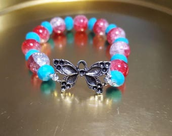 Red white and blue beaded Bracelet w/butterfly pendant