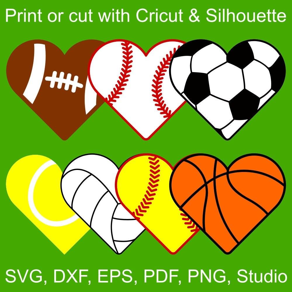7 Sports Hearts SVG Files For Cricut & Silhouette : Heart