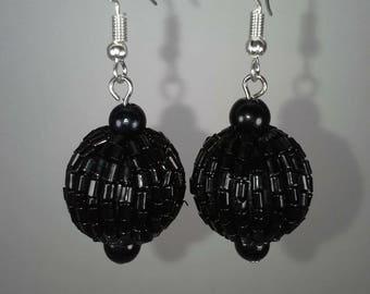 Black beaded ball dangle earrings