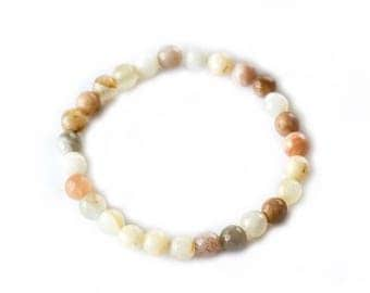 Peach Moonstone Yoga Stackable Bracelet