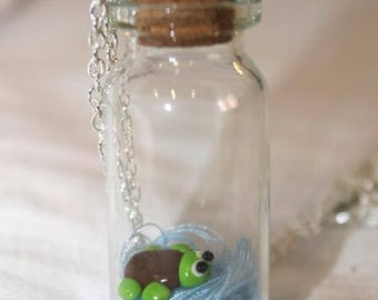 glass flask necklace with beads
