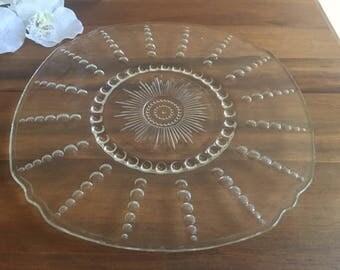 Vintage Glass Cake Plate Teardrop Tray Platter