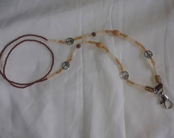 Peace Sign Lanyard brown and cream badge holder