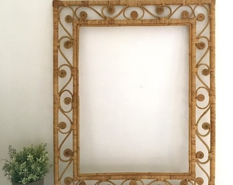 Large Vintage Wicker Picture Frame Mirror