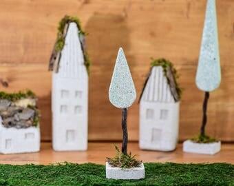 Tree, Concrete, Decorative, Christmas, Gift, Handmade, Sculpture, Home decor, Housewarming, woods, miniature, 30cm