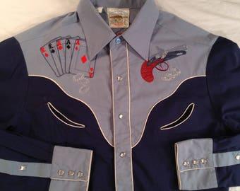 Vintage 70's Rocking K Ranchwear Cowboy Western Rockabilly Shirt Size Medium