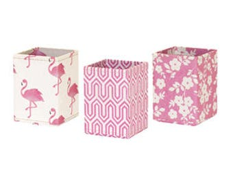 100% recycled flamingo pink designs print pen pot