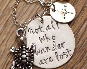 Not All Who Wander Are Lost - Hand Stamped Necklace