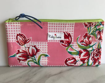 Long Oilcloth pouch / Zipper pouch / Pencil pouch / Makeup brush pouch / Pink tulip / Oilcloth bag
