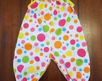 Baby Girl Darling Dungarees, Overalls, Bright Polka Dots 0-3 Months