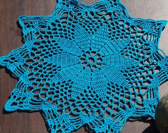 Beautiful Teal Lace, Handmade Crochet Doily, Chic and Trendy, Home Decor, Elegant, Functional, Stylish