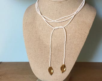Lariat Seed Bead Necklace White & Gold