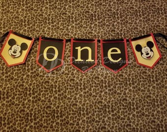 Personalized Mickey Mouse High Chair Banner