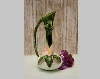 Vintage Porcelain Vase with Pink Flower, Norcrest Japan