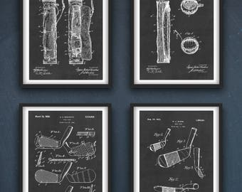 Golf Patent Wall Art Poster Set of 4   Golf Poster   Golf Print   Golf Club   Golf Home Decor   Golfing Gift Idea   Instant Download