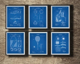 Blueprint Tennis Patent Set of 6 Prints, Blueprint Tennis Poster, Tennis Wall Art, Tennis Gift Idea, Tennis Patent Set of 6 INSTANT DOWNLOAD
