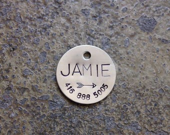 "Custom Pet ID Tag - 1"" Circle Nickel Silver - 24 gauge"