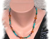 MALACHITE necklace, amber, Garnet, LABRADORITE, Tiger eye and Turquoise, 925 sterling silver