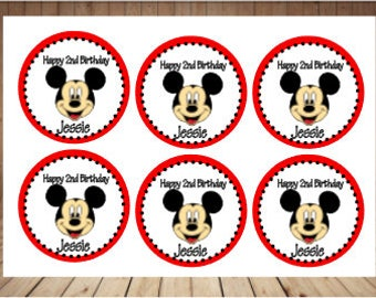Set of 24 -  Mickey Mouse Labels, Mickey Mouse Personalized Labels, Mickey Mouse Bag Tags, Mickey Mouse Stickers