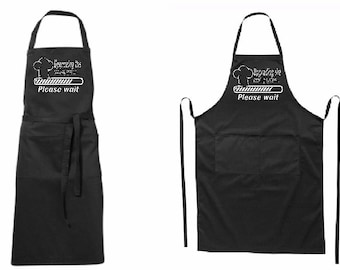 Full modern black apron Upgrading the-for her or for him-two pockets-quality printed-BBQ-for gift-father day-mother day-Birthday